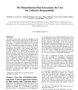 Humanitarian Data Ecosystem
